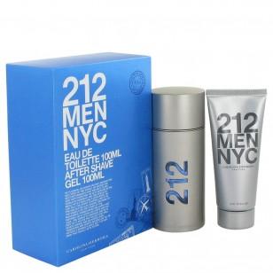 212 by Carolina Herrera - Gjafasett -- 3.3 oz  Eau De Toilette Spray + 3.3 oz After Shave Gel f. herra