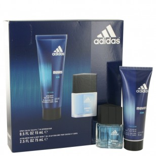 Adidas Moves by Adidas - Gjafasett -- .5 oz Eau De Toilette Spray + 2.5 oz Hair & Body Wash f. herra