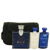 BVLGARI BLV (Bulgari) by Bvlgari - Gjafasett -- 3.4 oz Eau De Toilette Spray + 2.5 oz After Shave Balm +2.5 oz Shower Gel + Pouch f. herra