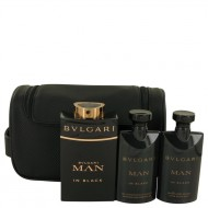 Bvlgari Man In Black by Bvlgari - Gjafasett- 3.4 oz Eau De Parfum Spray + 2.5 oz After Shave Balm +2.5 oz Shower Gel + Free Pouch f. herra