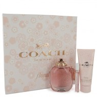Coach Floral by Coach - Gjafasett - 3 oz Eau De Parfum Spray + .25 oz Mini EDP Spray + 3.3 oz Body Lotion f. dömur