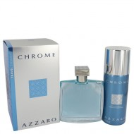 Chrome by Azzaro - Gjafasett -- 3.4 oz Eau De Toilette Spray + 5 oz Deodorant Spray f. herra