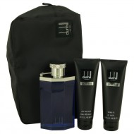 Desire Blue by Alfred Dunhill - Gjafasett -- 3.4 oz Eau DE Toilette Spray + 3 oz Shower Gel + 3 oz After Shave Balm + Bag f. herra