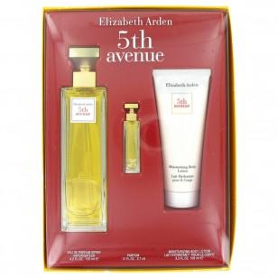 5TH AVENUE by Elizabeth Arden - Gjafasett -- 4.2 oz Eau De Parfum Spray + .12 oz Mini + 3.3 oz Body Lotion f. dömur