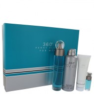 perry ellis 360 by Perry Ellis - Gjafasett -- 3.4 oz Eau De Toilette Spray + .25 oz Mini EDT Spray + 6.8 oz Body Spray + 3 oz Shower Gel f. herra