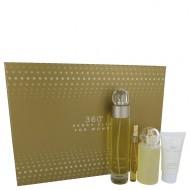 perry ellis 360 by Perry Ellis - Gjafasett -- 3.4 oz Eau De Toilette Spray + 4 oz Body Mist + 2 oz Hand Cream + .33 Mini EDT Spray f. dömur