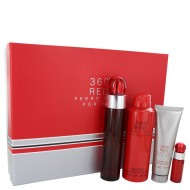 Perry Ellis 360 Red by Perry Ellis - Gjafasett -- 3.4 oz Eau De Toilette Spray + .25 oz Mini EDT Spray + 6.8 oz Body Spray + 3 oz Shower Gel f. herra