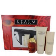 REALM by Erox - Gjafasett- 1.7 oz Eau De Toilette Spray + 3 oz Talc + 6.8 oz Body Lotion with Expandable Duffle Bag f. dömur