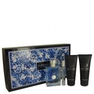 Versace Pour Homme by Versace - Gjafasett -- 3.4 oz Eau De Toilette Spray + 0.3 oz Mini EDT Spray + 3.4 oz After Shave Balm + 3.4 oz Hair & Body Shampoo f. herra