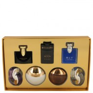 Bvlgari Man In Black by Bvlgari - Gjafasett -- Seven piece Iconic Miniature Collection All .17 oz Travel Mini's (Omnia Amethyste, Jasmin Noir EDP, Aqua Divina, Man In Black EDP, Aqua Amara, BLV Men, Omnia Crystalline) f. herra