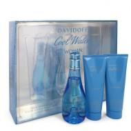 COOL WATER by Davidoff - Gjafasett- 3.4 oz Eau De Toilette Spray + 2.5 oz Body Lotion + 2.5 oz Shower Breeze f. dömur