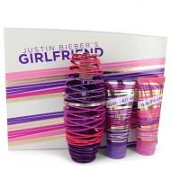 Girlfriend by Justin Bieber - Gift Set -- 3.4 oz Eau De Parfum Spray + 3.4 oz Body Lotion + 3.4 oz Shower Gel f. dömur
