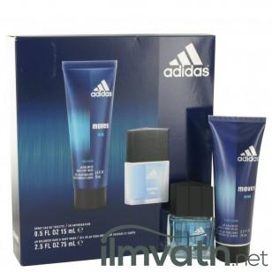 Adidas Moves by Adidas - Gjafasett- .5 oz Eau De Toilette Spray + 2.5 oz Hair & Body Wash f. herra