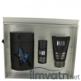 ANGEL by Thierry Mugler - Gjafasett - 3.4 oz Eau De Toilette Spray Refillable ( Rubber Bottle) + 1.7 oz Hair & Body Shampoo + .7 oz Deodorant Stick (Alcohol Free) f. herra