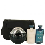 AQUA POUR HOMME by Bvlgari - Gjafasett - 3.4 oz Eau De Toilette Spray + 2.5 oz After Shave Balm +2.5 oz Shower Gel + Pouch f. herra