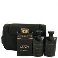 Bvlgari Man In Black by Bvlgari - Gjafasett - 3.4 oz Eau De Parfum Spray + 2.5 oz After Shave Balm +2.5 oz Shower Gel + Free Pouch f. herra