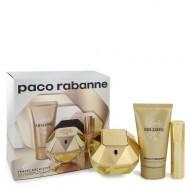 Lady Million by Paco Rabanne - Gjafasett- 2.7 oz Eau De Parfum Spray + .34 oz Min EDP Spray + 2.5 oz Body Lotion f. dömur