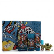 Ed Hardy Hearts & Daggers by Christian Audigier - Gjafasett- 3.4 oz Eau De Toilette Spray + 3 oz Shower Gel + 2.75 oz Deodorant Stick + .25 oz Mini EDT Spray + Free Key Chain f. herra