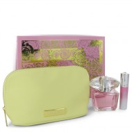 Bright Crystal by Versace - Gjafasett- 3 oz Eau De Toilette Spray + 0.3 oz Mini EDT Spray In Versace Pouch f. dömur