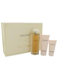 Emozione by Salvatore Ferragamo - Gjafasett -- 3.1 oz Eau De Parfum Spray + 1.7 oz Body Lotion + 3.4 oz Shower Gel f. dömur
