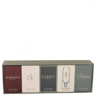 ETERNITY by Calvin Klein - Gjafasett -- Deluxe Travel Mini Set Includes Euphoria, CK One, Eternity, Ck 2 and CK Free, All are .33 oz Pours f. herra