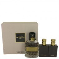 Valentino Uomo by Valentino - Gjafasett -- 3.4 oz Eau De Toilette Spray + 1.7 oz Shower Gel + 1.7 oz After Shave Balm f. herra